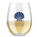 Kate Aspen Personalized 15oz Seashell Design Stemless Wine Glasses