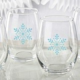 Kate Aspen Big Snowflake Motif Stemless Wine Glasses (Set of 4)