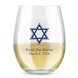 Kate Aspen Personalized 15oz Star of David Design Stemless Wine Glass