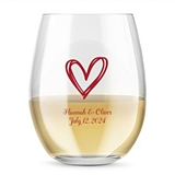 Kate Aspen Personalized 15oz Stylized Heart Design Stemless Wine Glass