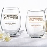 Personalized 'I'm Thankful For Wine' 15 oz. Stemless Wine Glass