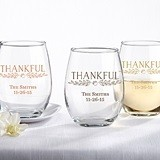 Kate Aspen Personalized 'Thankful' 15 oz. Stemless Wine Glasses