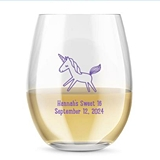 Kate Aspen Personalized 15oz Cute Unicorn Design Stemless Wine Glass