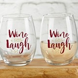 Wine a Little Laugh a Lot 15 oz. Stemless Wine Glasses (Set of 4)