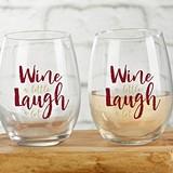 Wine a Little Laugh a Lot 15 oz. Stemless Wine Glasses (Set of 4)