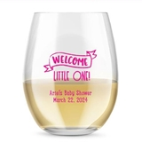 Kate Aspen Personalized 15oz 'Welcome Little One!' Stemless Wine Glass