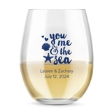 Kate Aspen Personalized 15oz 'You, Me & the Sea' Stemless Wine Glass