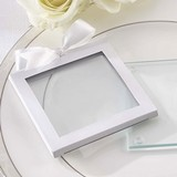 Kate Aspen White Glass-Coaster Gift-Sleeves (Set of 12)