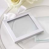 Kate Aspen White Glass-Coaster Gift-Sleeves (Set of 12)