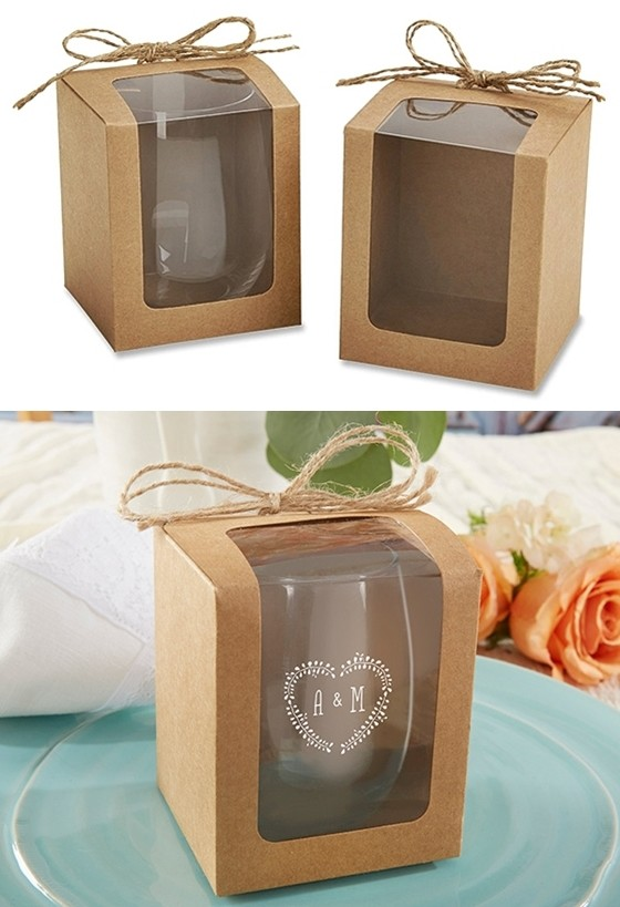 Kraft 9 Oz Stemless Wine Glass Display Gift Boxes Set Of 12