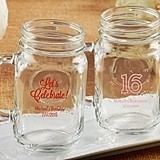 Kate Aspen Personalized 16 oz. Mason Jars (Birthday Designs)