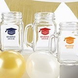 Kate Aspen Personalized 16 oz. Mason Jars w/ Congrats! Grad Cap Design