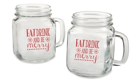 """Eat Drink Be Merry"" Snowflakes 16 oz. Mason Jars (Set of 4)"