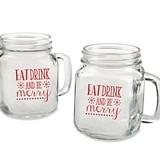 """Eat Drink Be Merry"" Snowflakes 16 oz. Mason Jars (Set of 4)"