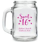 Kate Aspen Sweet 16 Hearts Design Personalized 16oz Mason Jars
