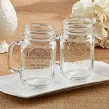 "Kate Aspen Personalized ""Thankful"" 16 oz. Mason Jars"