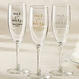 Kate Aspen Script Mr. & Mrs. Design Personalized Champagne Flutes