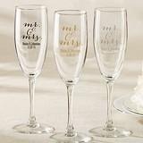 Kate Aspen Script Mr. & Mrs. Design Personalized Champagne Flutes