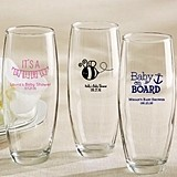 Personalized 9 oz. Stemless Champagne Glasses (Baby Shower Designs)