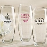 Personalized 9 oz. Stemless Champagne Glasses (Birthday Designs)
