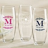 Personalized 9 oz. Stemless Champagne Glasses (Botanical Designs)