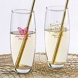 Personalized 9 oz. Stemless Champagne Glasses (Bridal Brunch Designs)