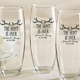 Personalized 'The Hunt is Over' Motif 9 oz. Stemless Champagne Glasses