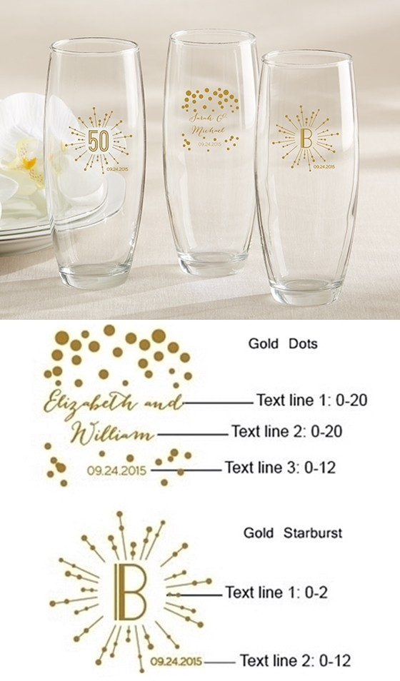 Milestone Gold Collection Personalized 9 oz Stemless Champagne Glasses