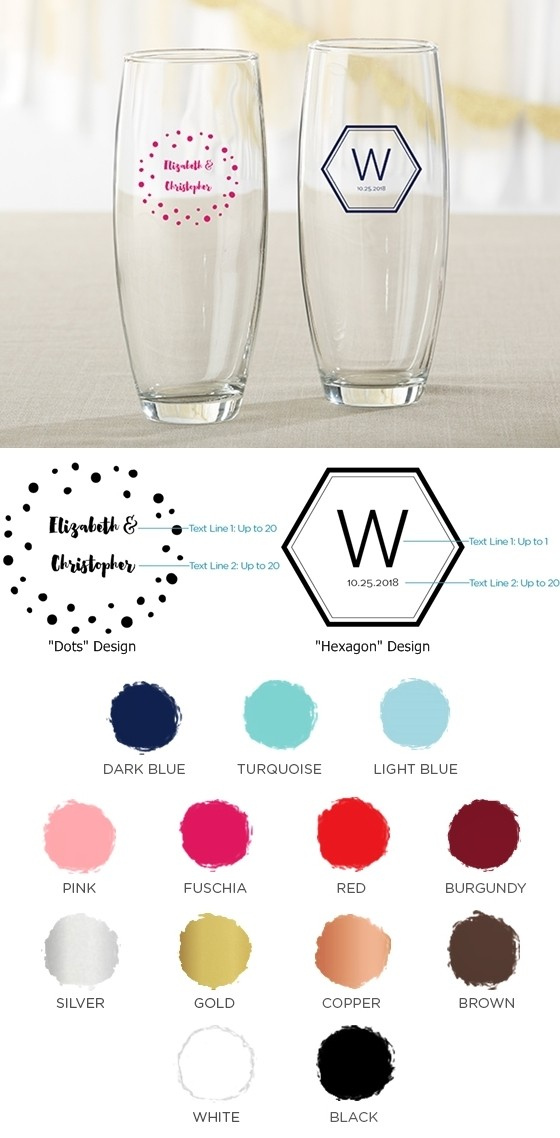 524db3a50f4e Personalized 9 oz. Stemless Champagne Glasses (Modern Classic Designs)    Personalized Gifts and Party Favors