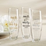 Script Mr. & Mrs. Design Personalized 9 oz Stemless Champagne Glasses