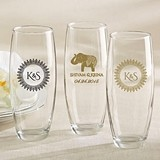Personalized 9 oz. Stemless Champagne Glasses (Indian Jewel Designs)