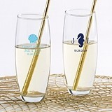 Personalized 9 oz. Stemless Champagne Glass (Seaside Escape Designs)