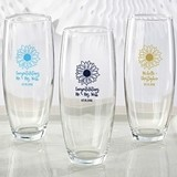 Personalized 9 oz. Stemless Champagne Glass with Sunflower Design