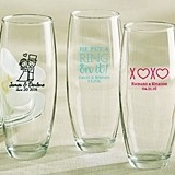 Personalized 9 oz. Stemless Champagne Glasses (Wedding & Seasonal)