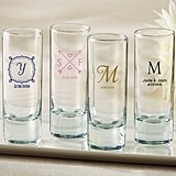 Kate Aspen Personalized Tall Shot Glasses (Monogram Designs)