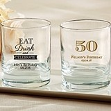 Kate Aspen Personalized 9 oz. Rocks Glasses (Birthday Designs)