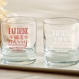 """Personalized """"Eat Drink Be Merry"""" Design 9 oz. Rocks Glasses"""