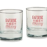 Eat Drink & Be Merry Snowflakes Motif 9 oz. Rocks Glasses (Set of 4)