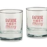 Eat Drink & Be Merry Snowflakes Motif 9 oz. Rocks Glasses (Set of 4)