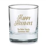Kate Aspen Personalized 'Happy Holidays' Fun Design 9oz Rocks Glasses