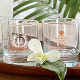 "Kate Aspen Personalized ""Tropical Chic"" 9 oz. Rocks Glasses"