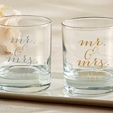 Elegant Script Mr. & Mrs. Design Personalized 9 oz. Rocks Glasses