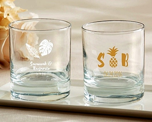 Kate Aspen Personalized Pineapples & Palms Designs 9 oz. Rocks Glasses