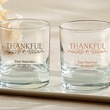 "Kate Aspen Personalized ""Thankful"" 9 oz. Rocks Glasses"