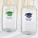 Personalized 16 oz. Can-Shaped Glasses with Congrats! Grad Cap Design