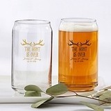 "Personalized 16 oz. Can-Shaped ""The Hunt Is Over"" Glasses"