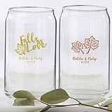 Kate Aspen Personalized 16 oz. Can-Shaped Glasses with Fall Designs