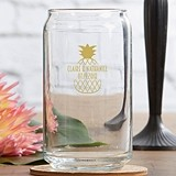 Personalized 16 oz. Can-Shaped Glasses with 'Tropical Chic' Designs