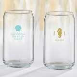 Personalized 16 oz. Can-Shaped Glass (Seaside Escape Designs)