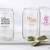 Personalized 16 oz. Can-Shaped Glasses (Wedding & Seasonal Designs)